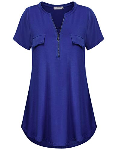 Women's Cute Zip Up V Neck Short Sleeve Shirt Comfy Loose Fitting Casual Tunic Blouse Tops for Office and House Wear Blue XXL
