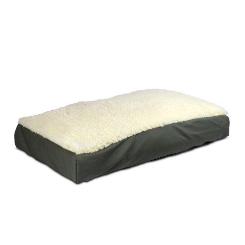 Snoozer Rectangle Pillow Pet Bed, Cream Snoozer with Fur, X-Large, Seafoam, My Pet Supplies