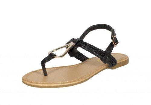 RCK Bella Womens Afreda-5 T Strap Braided Slingback Flat Sandal with Gold Metal Decoration, black leatherette, 8 M US