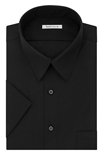 Van Heusen Men's Dress Shirts Short Sleeve Poplin Solid, Black, 17.5