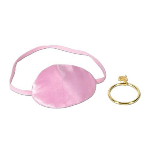Pink Pirate Eye Patch w/Plastic Gold Earring Party Accessory (1 count) (Plastic Eye Patch)