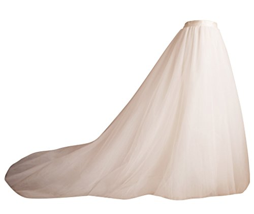 flowerry Ivory Long Train Tutu Tulle Skirt Bridal Skirt Wedding Skirt M