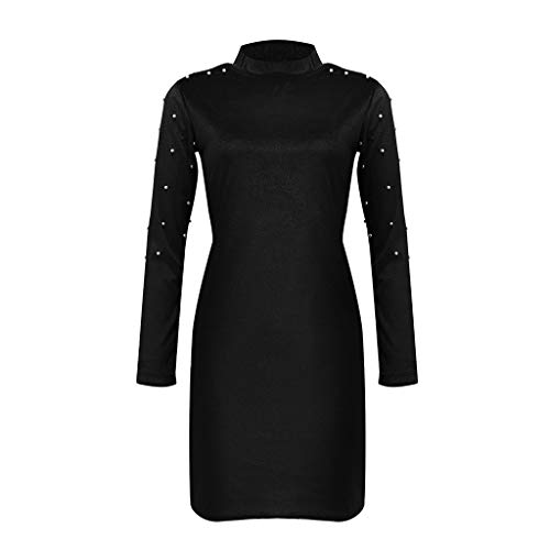 Gooldu Pullover Sweaters for Women, Casual Solid Beading Pearl O-Neck Long Sleeve Bodycon Mini Dress S-XL