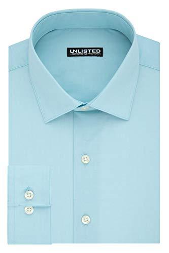 Kenneth Cole Unlisted Men's Dress Shirt Slim Fit Solid ,  Slim Aqua,  15