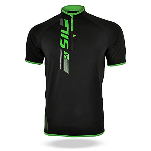 SILVINI Men's Mountain Bike Jersey Turano in Black for Cycling and All Other Outdoor Activities - Size 5XL - Original Cycling Jersey
