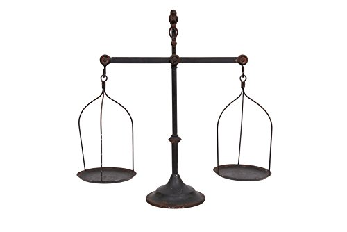 Creative Co-op Decorative Distressed Vintage Metal Scale with Bird Finial, Bronze ()