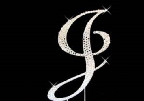 Jewelry Monogram Cake (Perfectmaze Rhinestone Cake Toppers Collection Wedding Anniversary Cake Decoration (J))