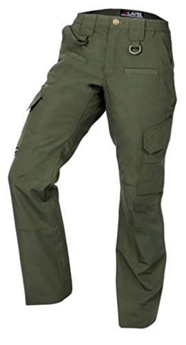 LA Police Gear Women's Operator Pant with 8 Pockets and Elastic Waist (OD Green, 10-Short) from LA Police Gear