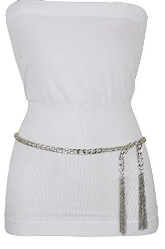 Women Hip Waist Silver Metal Chain Tassel Charm Buckle Side Fringes Belt M L XL