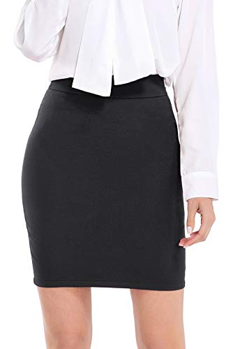 AUQCO Women Business Bodycon Mini Pencil Skirt Above The Knee 19