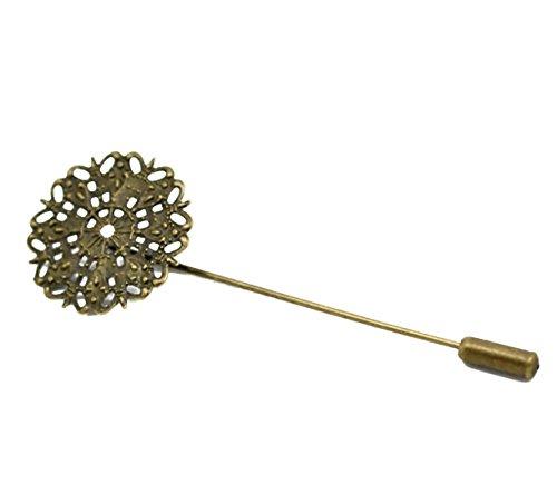 - Housweety 10 Bronze Tone Filigree Flower Brooch Back Pins Findings 7.5x2.5cm
