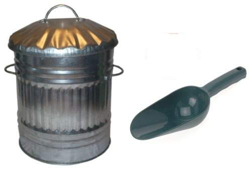 S&MC Gardenware 40L Medium Metal Bin Dustbin Ideal for Bird Seed/Animal / Horse/Chicken Feed/Food Storage + SCOOP