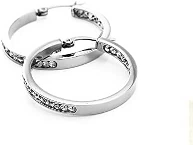 TIE-0209B Pure Titanium Fashion Big Hoop Earrings for Womens Teen Girls