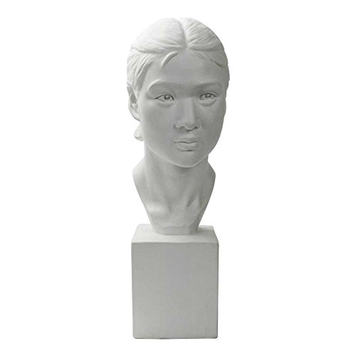 """Torino Life Size Bust Young Girl Plaster Cast Mannequin, Great for Portrait Artists, Artistic piece, Color: White, Size: 9"""" X 7"""" X 23"""""""