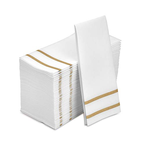 Fete Decorative Hand Towels Disposable, Gold Design 100 Linen-Feel Guest Towels – Formal Dinner, Anniversary, and…