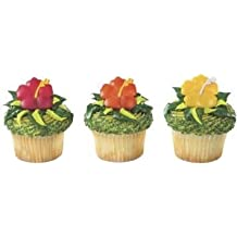 Beautiful Hawaiian Hibiscus Flower Cupcake Rings (24-Pack)