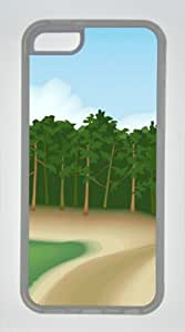 Iphone 5C TPU Supple Shell Case Road to the Forest Transparent Skin by Sallylotus