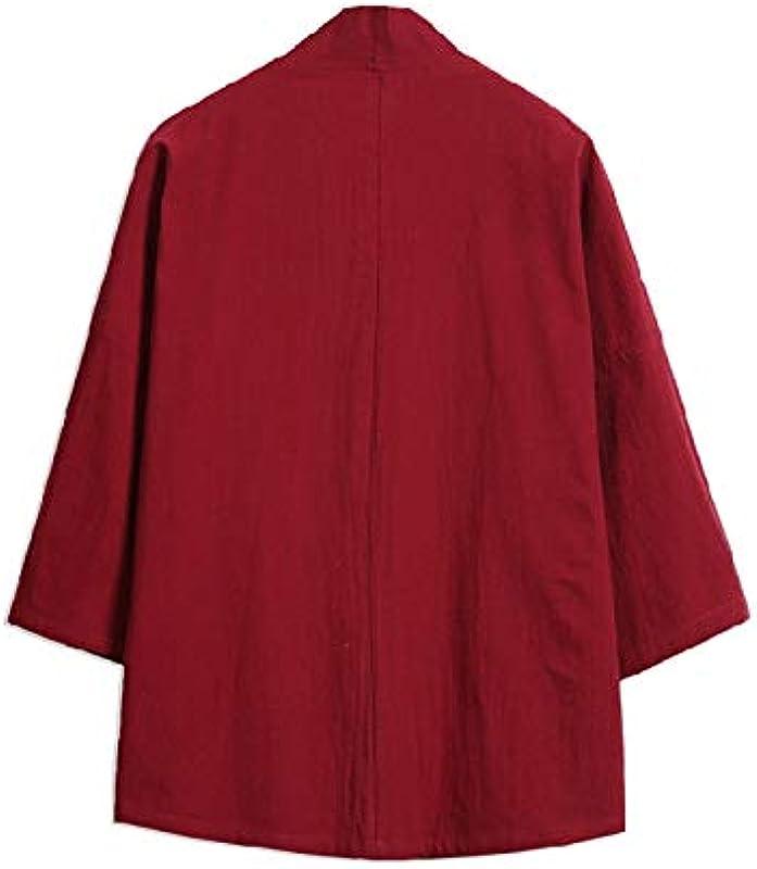 Męskie-Kimono-Strickjacke, Übergröße, japanischer Kimono-Stil, Kranich-Stickerei, Cardigan, Jacke, Vintage-Stil, lockerer japanischer Yukata-Mantel, Oberteil, Graublau, XXL: Küche & Haushalt