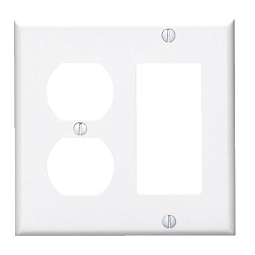 LEVITON 80405W Plate, Wall,2 Gang, White