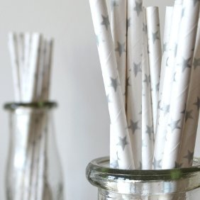 Biodegradable Paper Straws with Silver Stars - Holidays, Weddings, Showers - 100 pcs