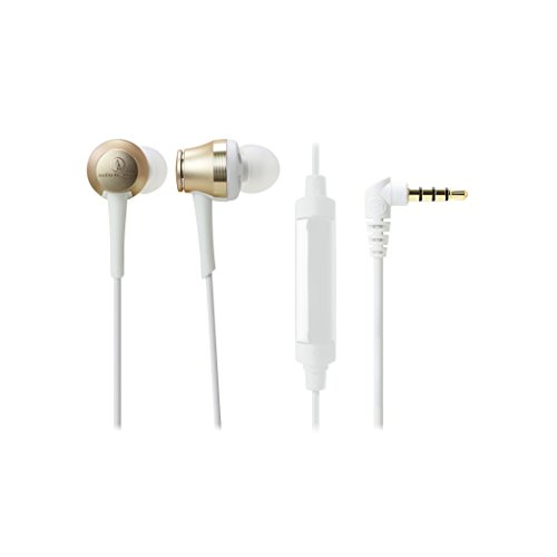 Audio Technica Aluminum Lightweight Headphone (Audio-Technica ATH-CKR70iSCG Sound Reality In-Ear High-Resolution Headphones with Mic & Control, Champagne Gold)