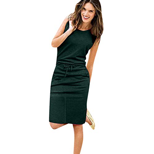 TUSANG Womens Skirt Holiday Sleeveless Sundress Ladies Summer Beach Casual Party Dress Slim Fit Comfy Dress(Green,US-10/CN-XL)