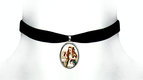 Victorian Vault Alice in Wonderland Black Velvet Choker Steampunk Gothic Pendant Necklace 3