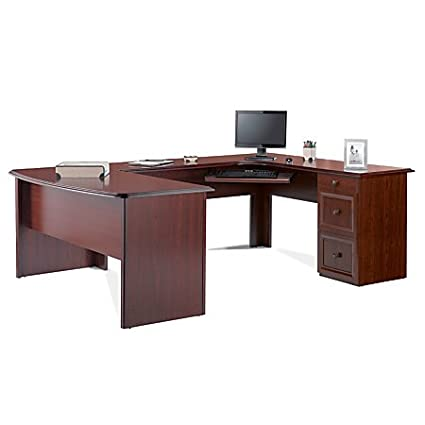 Amazon.com: Realspace Broadstreet Executive U-shaped Office Desk ...