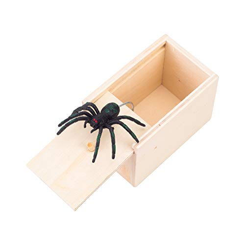 succeedtop Surprise Box with Spider - Unfinished,Scary Box Spider Jump Prank Wooden Joke Gag Toy Hilarious No Word April Fool's Day Spoof Funny Scare Small Wooden Box Spider Scary Girls (Khaki) -