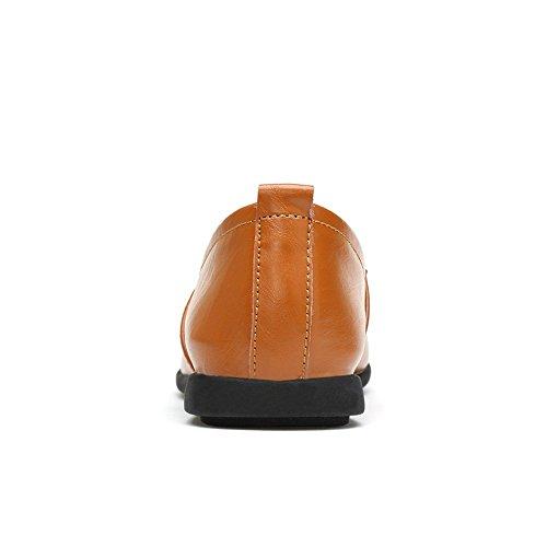 ballerine 5 in Breathable on Black Loafer vera shoes suola mocassini da camoscio UK Style nuovo slip in 5 Light Shufang Mocasins 2018 nbsp;uomo uomo pelle Brown X1qPx