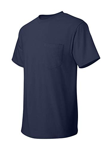 Hanes 5590 Unisex Tagless 100% Cotton T-Shirt with Pocket Navy XX-Large