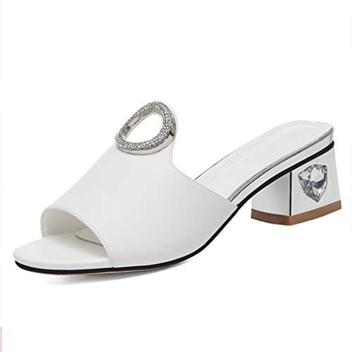 Ropa Selling Zapatillas Alto Para 40 Moda Flash Gruesa White Piel De black Y Summer Tacón Mules Gruesas Sandalias Plataforma Mujer FwqrZFSz