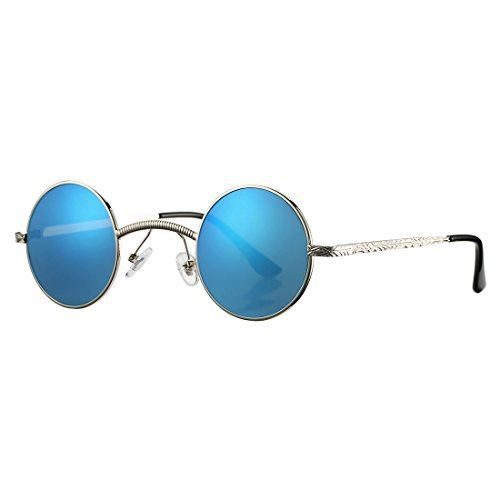 COASION Retro Round Circle Steampunk Gothic Sunglasses for Men Women Metal Frame (Silver Frame/Blue - Glasses Mens Funky