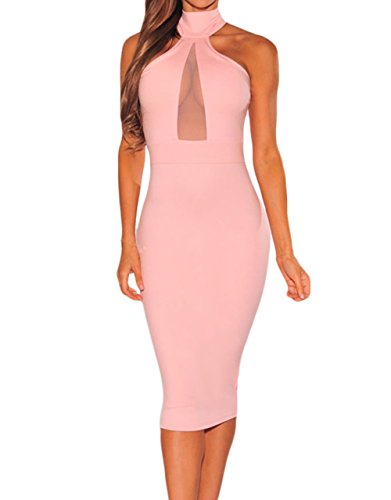 Sexy Womens Mock Neck Sheer Peep Hole Party Club Midi Dress (Small, Pink)
