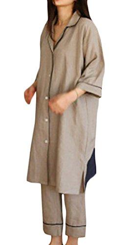 Pandapang-Womens-Long-Sleeve-Nightwear-Loose-Linen-Pajama-Loungewear-Set