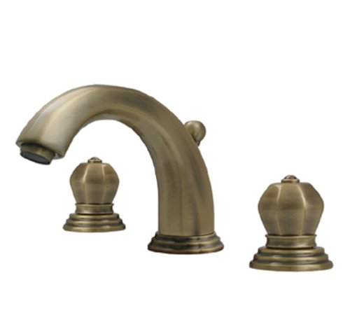 Whitehaus 514.121WS-POCH Blairhaus Washington 6-Inch Widespread Lavatory Faucet with Crown-Shaped Turn Handles and Pop-Up Waste, Polished Chrome