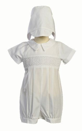 Boy's Smocked Cotton Christening Baptism Romper with Hat Size L (12-18 Month), White