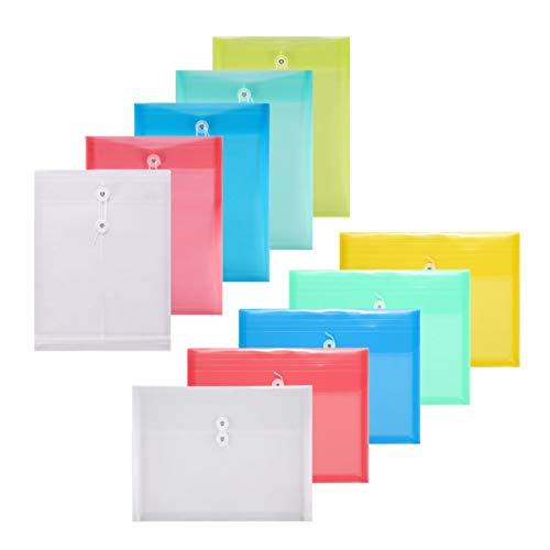 (TIENO PVC String Envelopes Assort 5 Top and 5 Side Load Letter Size Folder with Expanding Gusset Pocket Office Organize)