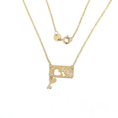 18K Yellow Gold Love open cut Plaque with Hanging Key and Rollo Chain 16 inches Necklace by Amalia (Image #1)
