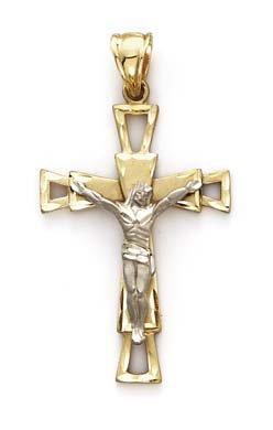 14 carats-Bicolore-Pendentif Croix Christ Jésus Crucifix-JewelryWeb ouverte