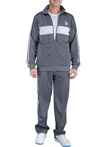 (Vertical Sport Men's 2 Piece Jacket & Pants Slim Fit Jogging Track Suit JS15 (XXXXX-Large, Gray/White))