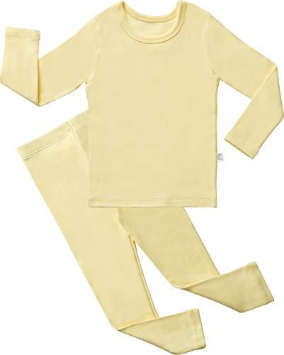 - AVAUMA Baby Boys Girls Solid Pring Pj Set Kids Pajamas Long Sleeve Cotton (Lemon-1 X-Large)