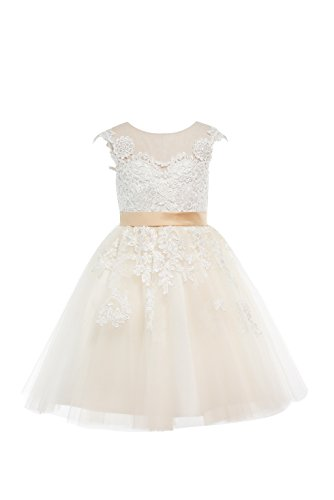 (Miama Champagne Lace Tulle Wedding Flower Girl Dress Junior Bridesmaid Dress)