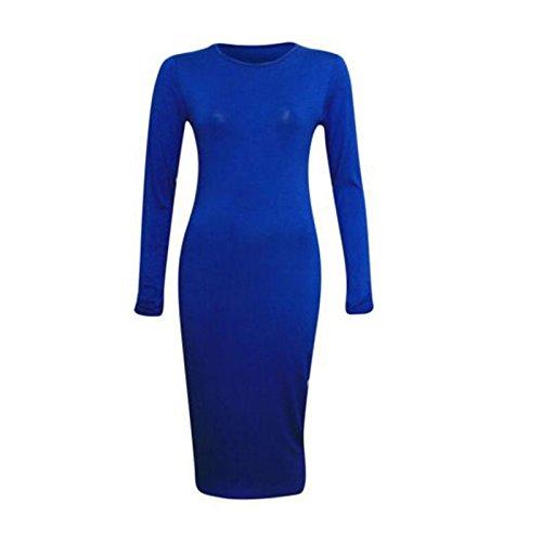 A Midi Blu Il Vestito Con Manica Semplice Lunga Maglia Royal Jersey Corpo SOqwOYd