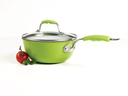 Denmark 2.3-Quart Covered Sauce Pan with White Enamel Interior, Green
