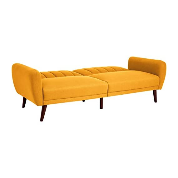 Sunrise Coast Torino Modern Linen-Upholstery Futon with Wooden Legs, Dijon - Futon couch transitions easily from a couch to a bed (back cushions fold down); offers contemporary style and space-saving versatility Comfortable polyester and foam filling; cushioned seat and back with ribbed tufted detailing; curved armrests Premium linen upholstery in a regal golden hue; wipes clean easily - sofas-couches, living-room-furniture, living-room - 31SJC%2BjNx1L. SS570  -