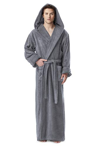 ll Ankle Length Hooded Turkish Cotton Bathrobe Gray Large ()