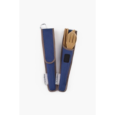 To-Go Ware Bamboo Travel Utensils - Utensil Set with Carrying Case, Indigo