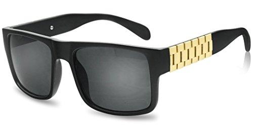 Square Flat Top Hip Hop Chain Clear Lens Fashion Glasses Non-Prescription (Black/Gold, - Square Glasses Black