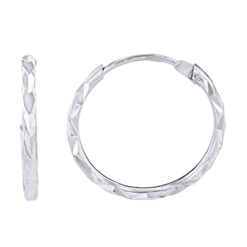 14k Solid White Gold Textured 1.5mm Thickness Endless Hoop Earrings (15 x 16mm)